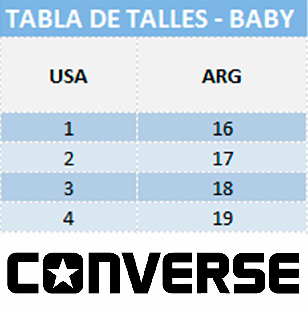 Talles baby converse